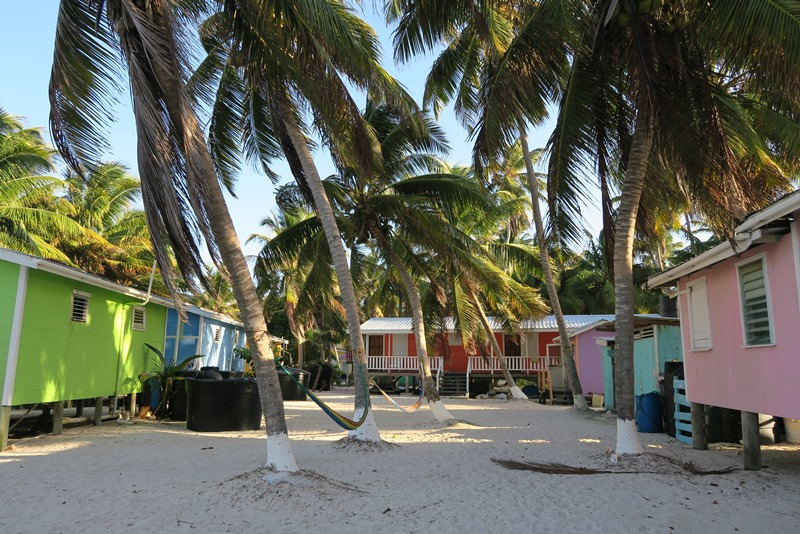 Farvede huse på Tobacco Caye i Belize