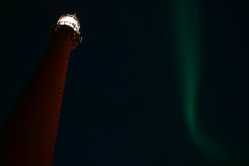 Nordlys ved fyrtårnet i Andenes