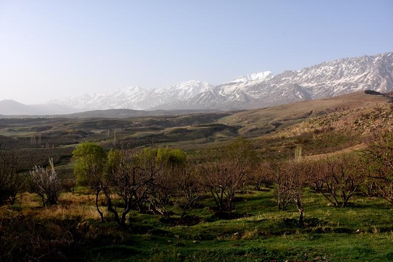 Gåtur i landsby ved Zagrosbjergene