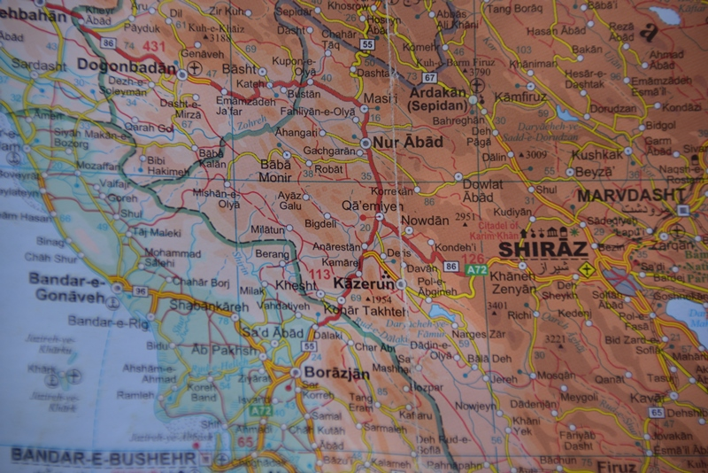 Kort over området hvor Qashqai nomaderne bor