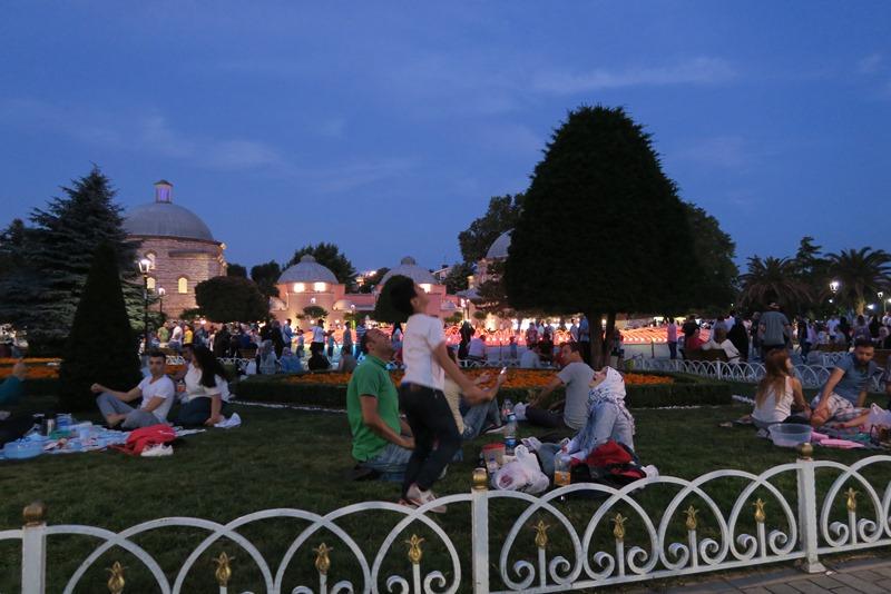 Familier holder picnic i parken