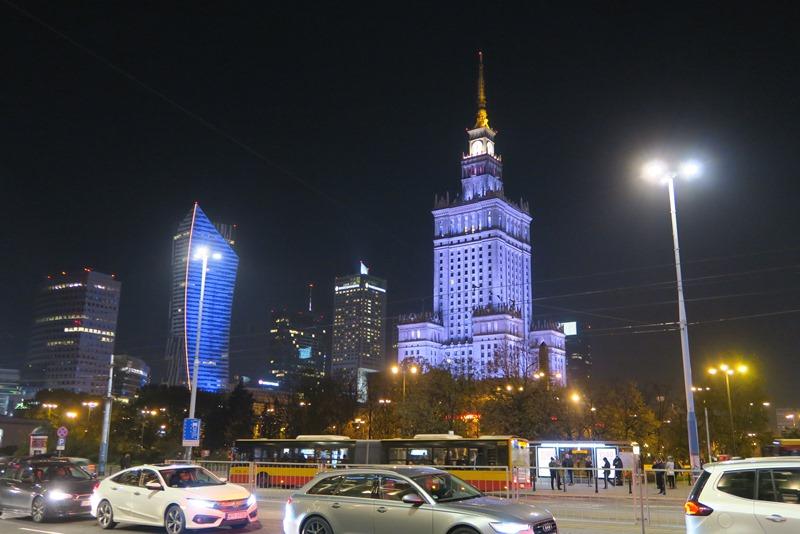 Kulturpaladset om aftenen, Warszawa