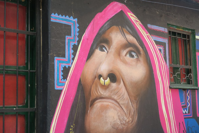Ikonisk graffiti i Bogota, Colombia