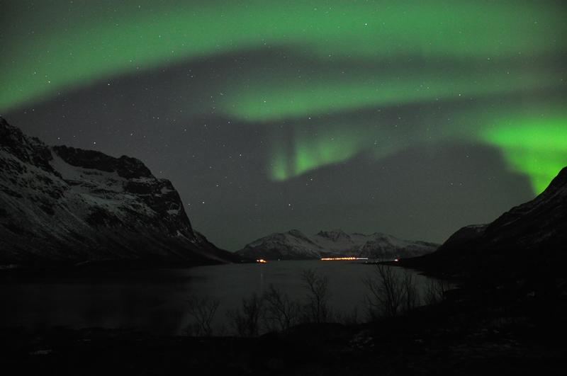 Nordlys ved fjorden