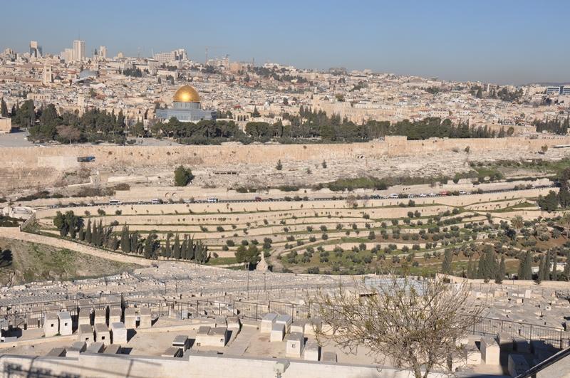 Udsigten fra Oliebjerget i Jerusalem