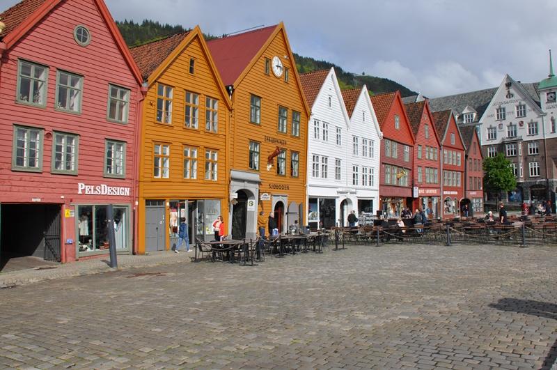 Den gamle bydel Bryggen i Bergen