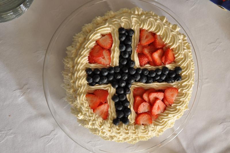 Lagkage som det norske flag