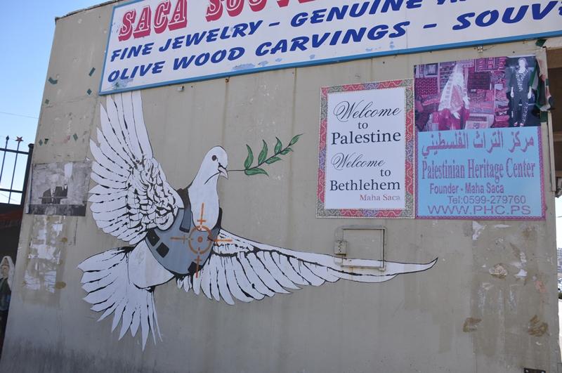 Banksys fredsdue i Betlehem