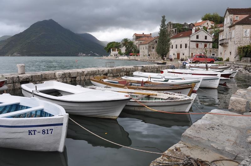 Havnen i Perast i Montenegro