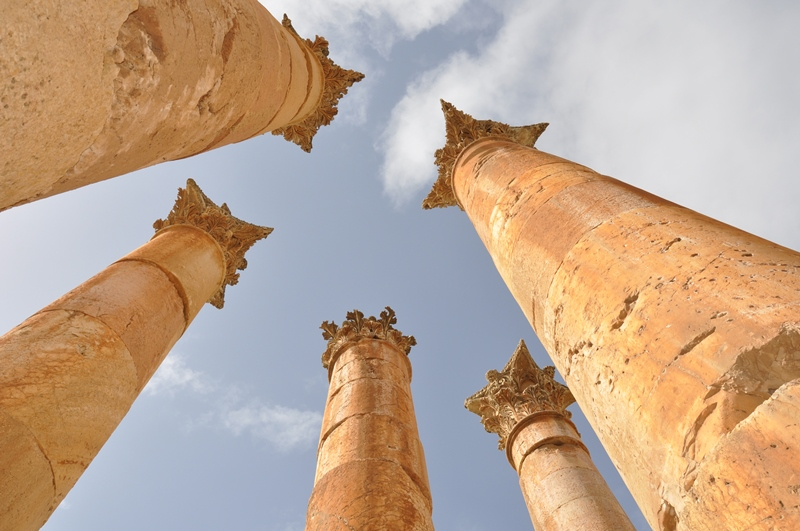 Søjler i Jerash i Jordan