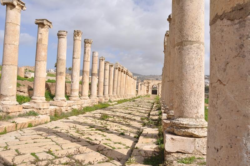 Markedsgaden i Jerash i Jordan