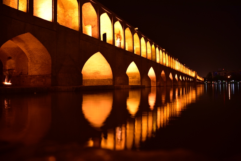 Broen om aftenen i Isfahan
