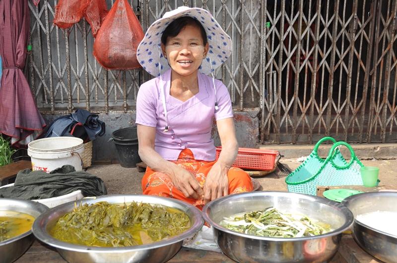 Markedsgade i Yangon, Myanmar