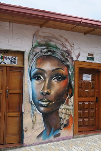 Kvinde, graffiti, Bogota, Colombia