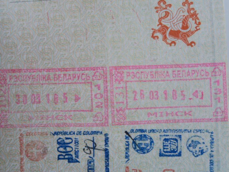 Stempler i passet ved indrejse til Hviderusland